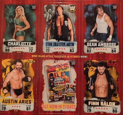 30 x Topps WWE Slam Attax Takeover - Set Of 6 Sheets