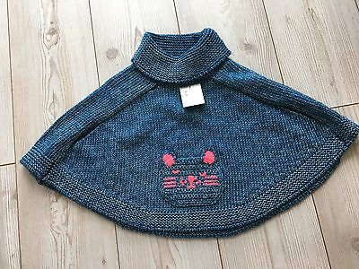 Next Girls Cat Character Poncho Age 5/6 Years Blue Knitted