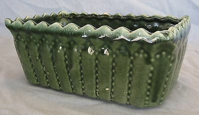 Vintage Green Ceramic Planter Box, 5 X 8 1/2 in., Heavy, Excellent Shape, USA