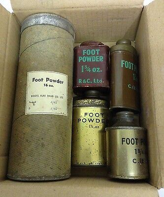 Original WW2 Soldiers Military Foot Powder ,  5 x Assorted Tins , Unissued.