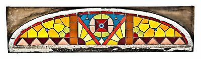 Chicago Residential Stained Glass Transom Window W/ Geometric Design