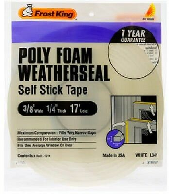 "Thermwell Frost King 3/8"" x 1/4"", 17' White Poly Foam Weather-Strip Tape, 4 pack"