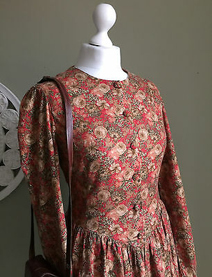 VINTAGE Laura Ashley ROSE Floral WOOL & Cotton DRESS - Red Floral Dress - 14