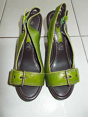 Brand New Next Green Leather Wedge Heel Sandals/shoes Size 5