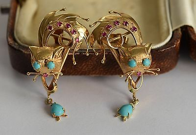 Exceptional Pair of 1960s 9ct gold turquoise and ruby cat earrings