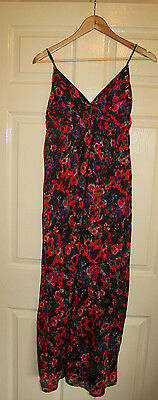Black/red floral bikini top cotton maxi dress with multiway straps size 10