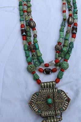 Tibet Necklace Gaja, Turquoise, Coral & Silver
