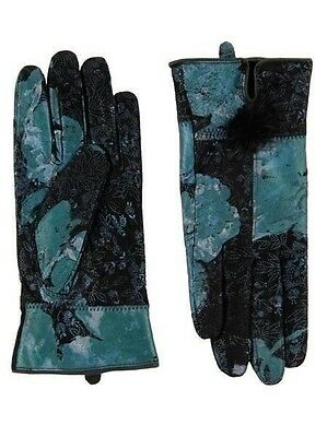 New Women handmade 100% leather soft lined warm metalic floralvintage Gloves s/m