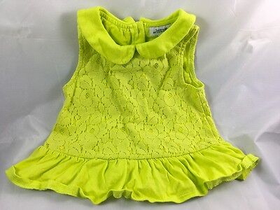 Girls lime green bows and arrows peplum party lace effect top 1.5-2 years