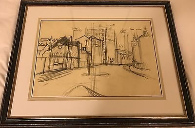 Alan lowndes Original Charcoal Drawing Sketch. Manchester Street Scene