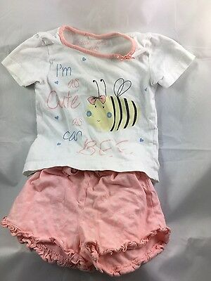 Gorgeous cute as can bee Girls tshirt and short pyjamas set 12-18 months