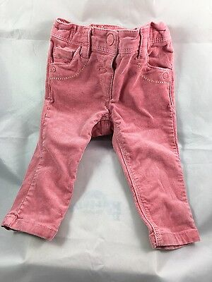 Girls pink next cord bootcut trousers 6-9 months