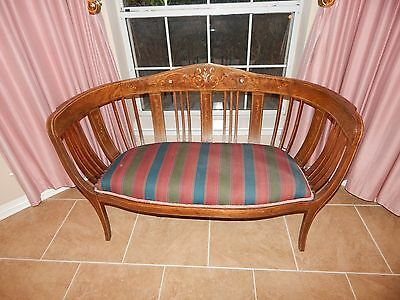 Antique 1900's Edwardian Mahogany & Mother of Pearl Inlay Settee Loveseat Bench