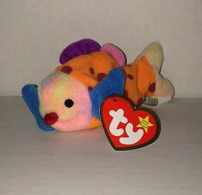 Ty Original Teenie Beanie Baby 'Lips The Fish' Small Multi-Color Large Lips Fish