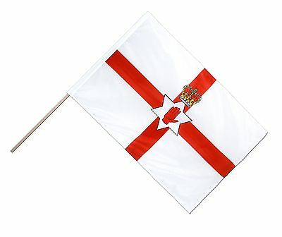 1 x  Northern Irish Flag -  NI Hand waving flag with Pole - Free UK P&P