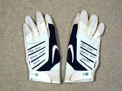 Robinson Cano Yankees 2010 Game Used Batting Gloves Dual Auto MLB Authentication