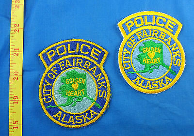 Old Worn Fairbanks Police 2 Different Alaska Embroidered Cloth Patch Lot Of 2