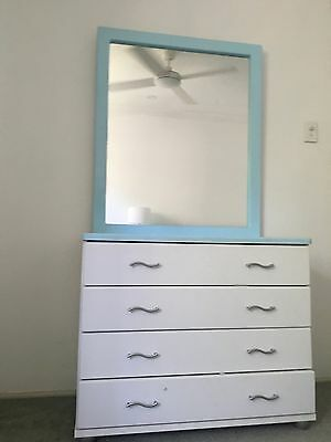 Chest Of Drawers With Mirror & Bedside Table