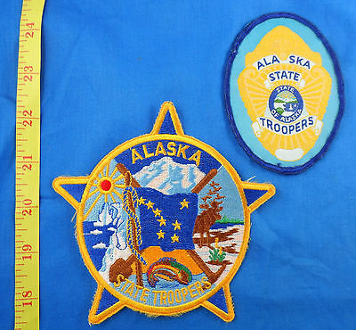 Alaska State Troopers 2 Different Alaska Embroidered Cloth Patch Lot Of 2
