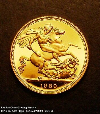 1980 GOLD FULL PROOF SOVEREIGN Slabbed CGS 95 (MS68-69)