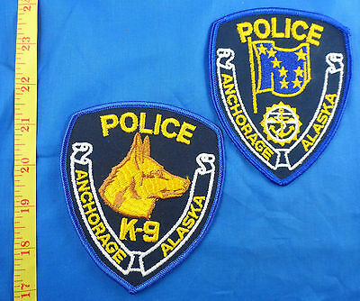 Anchorage Police And K-9 Canine Dog Alaska Embroidered Cloth Patch Lot Of 2