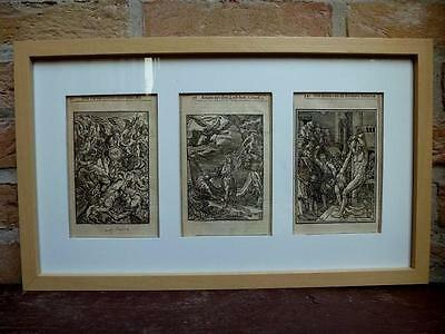 x3 framed post incunable woodcuts, biblical scenes, Rubens signing  - circa 1550