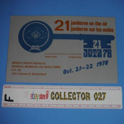 Boy Scout Post Card 1978 21 Jamboree on the air World Scout Bureau Switzerland