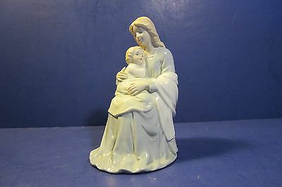 """Homco Lady Madonna 7 1/2"""" Mother & Child Glossy Porcelain Figurine #8809"""