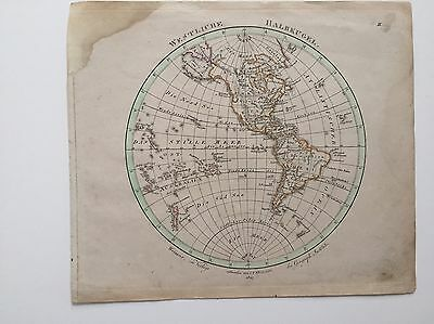 """Weiland Maps Of The Western And Eastern Hemispheres; 1827; 10 3/8 by 9"""";"""