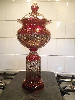 STUNNING RARE EXAMPLE VICTORIAN Ruby and Gold Bohemian Cut glass Lidded Vase VGC