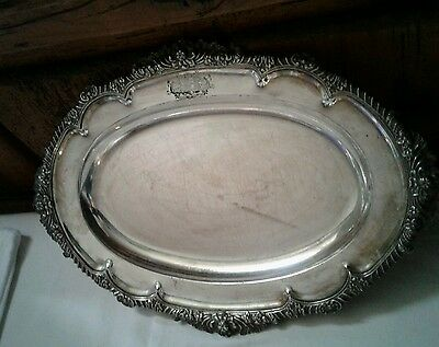 "Vintage Marked Silver Plated Oval Serving Dish Tray 16"" X 11"""