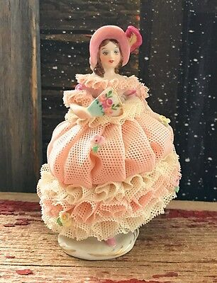 Irish Dresden Lady Charlotte In Pink & Ivory Signed by Corry Saar