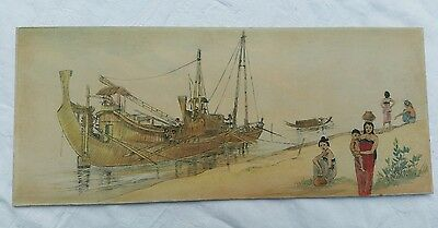 Antique Pen & Ink Oriental Seascape Unsigned Well Executed Estate Clearance