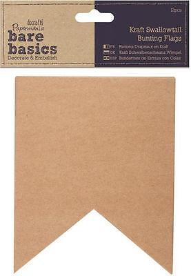 DoCrafts Papermania BARE BASICS ~ Kraft Swallowtail Bunting Flags (12pcs)