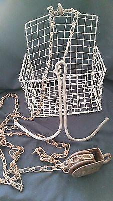 Vintage Antique Miners Basket, Pulley, & Chain, Rand Mining District, Ca