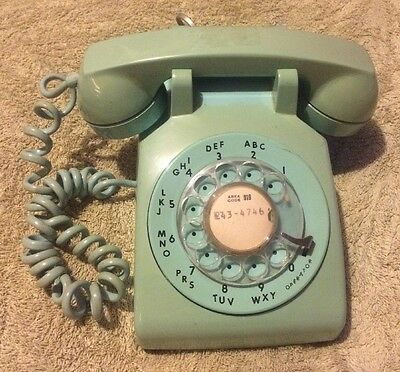 Vintage ITT Sea Foam Green Teal Rotary Dial Phone Telephone - Made In USA