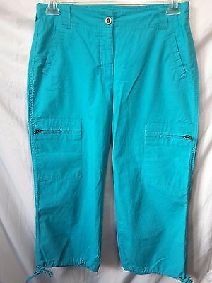 ADDITIONS by CHICO'S WOMEN'S STRETCH BLUE(TURQUOISE) CARGO CAPRI PANTS SIZE 0