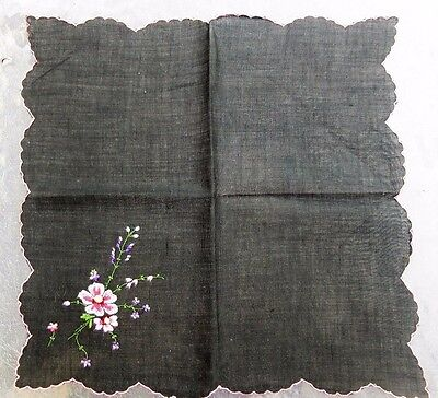 #110 Black Hankie with Multi-Color Embroidered with Scallop Edge