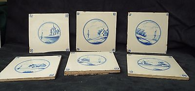 6 vintage antique Delft hand painted blue & white tiles collectable display