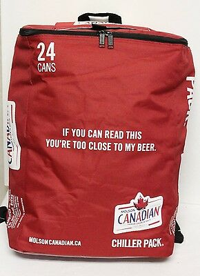 Chiller 24 Can Backpack Cooler Molson Canadian Red/White Insulated Bag