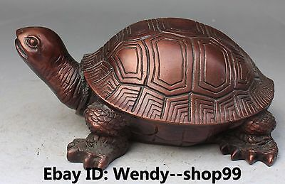 "9"" Chinese Copper Bronze Carving Longevity Dragon tortoise Turtle Animal Statue"