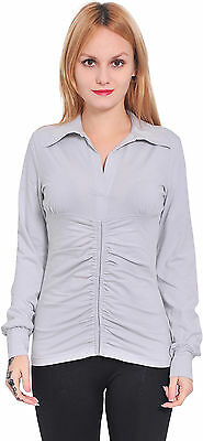 Silver Marycrafts Womens Long Sleeve V Neck Polo Shirt Blouse Top Size 12 L