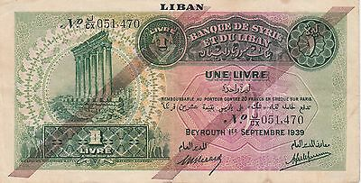 Lebanon,1 Livre Banknote,1.9.1939 Choice Very Fine Condition Cat#26-B-1470