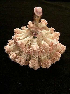 """Antique  Germany Dresden Lace 3"""" Sitting  Lady Porcelain Figurine"""