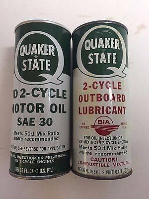 TWO QUAKER STATE OUTBOARD 2 Cycle VINTAGE ANTIQUE METAL GREASE CAN OIL CITY