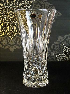 Timeless Bohemia crystal vase, large flared shape. Brand new in box.