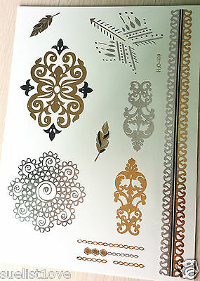 Unusual grilles feather waterproof Temporary Golden Silver Metallic Tattoo Flash