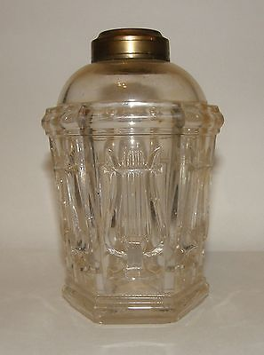 Antique 1800s Lyre Harp Pattern Glass Oil Lamp Font Unusual Make-Do Piece
