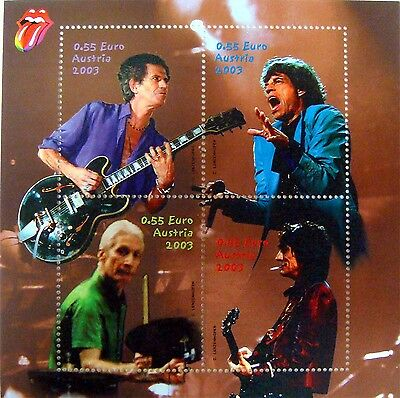 2003 Rolling Stones Stamps Austria Mick Jagger Keith Richards Charlie Watts