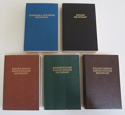 Five Dictionaries - Synonyms/Antonyms, English, French, Italian, German - 1980s